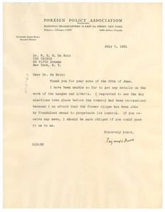 Thumbnail of Letter from Foreign Policy Association to W. E. B. Du Bois