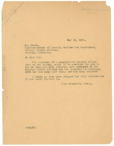 Thumbnail of Letter from W. E. B. Du Bois to Chicago Public Library