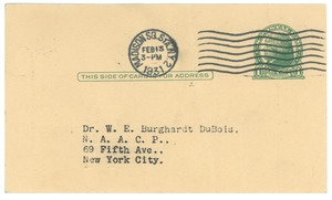 Thumbnail of Postcard from The Civic Club to W. E. B. Du Bois