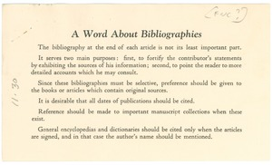Thumbnail of A word about bibliographies