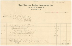 Thumbnail of Invoice from the Paul Laurence Dunbar Apartments, Inc.