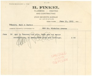 Thumbnail of Invoice from H. Finkel