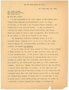 Thumbnail of Letter from the Du Bois Literary Prize to Waldo Frank