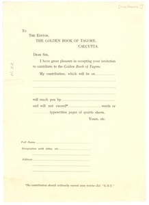 Thumbnail of Blank form letter to the editor of The Golden Book of Tagore