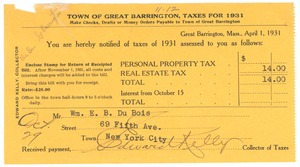 Thumbnail of Town of Great Barrington taxes for 1931