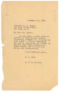 Thumbnail of Letter from W. E. B. Du Bois and W. L. Imes to W. P. Hayes