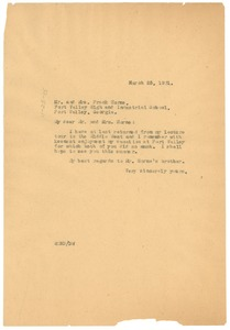 Thumbnail of Letter from W. E. B. Du Bois to Mr. and Mrs. Frank Horne