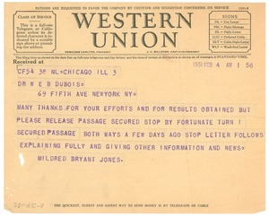 Thumbnail of Telegram from Mildred Bryant Jones to W. E. B. Du Bois