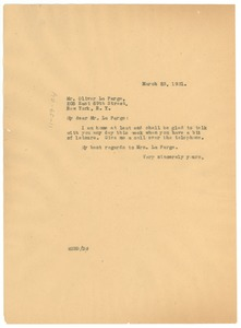 Thumbnail of Letter from W. E. B. Du Bois to Oliver La Farge