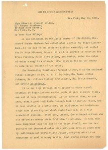 Thumbnail of Letter from the Du Bois Literary Prize to Edna St. Vincent Millay