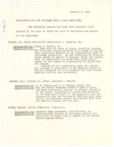Thumbnail of Memorandum from Walter White to the Spingarn Medal Award Committee