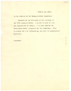 Thumbnail of Memorandum from W. E. B. Du Bois to The Spingarn Medal Committee of the NAACP