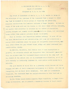 Thumbnail of Resolution to the Julius Rosenwald Fund