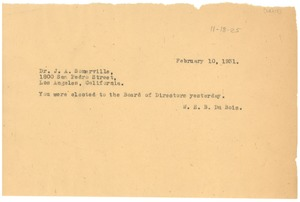 Thumbnail of Telegram from W. E. B. Du Bois to J. A. Somerville