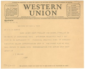 Thumbnail of Telegram from Irene C. Malvan to W. E. B. Du Bois