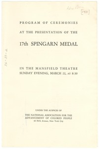 Thumbnail of Program of ceremonies at the presentation of the 17th Spingarn Medal