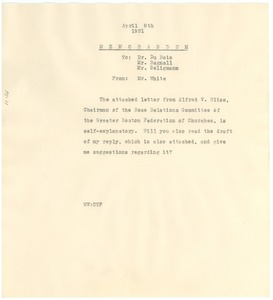 Thumbnail of Memorandum from Walter White to W. E. B. Du Bois, Robert Bagnall, and Herbert             Seligmann