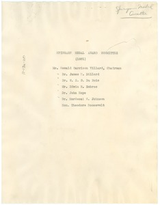 Thumbnail of Spingarn Medal Award Committee 1931 Roster