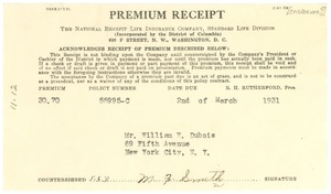 Thumbnail of Premium receipt from National Benefit Life Insurance Company