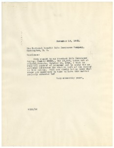 Thumbnail of Letter from W. E. B. Du Bois to National Benefit Life Insurance Company