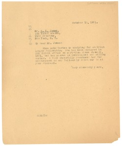Thumbnail of Letter from W. E. B. Du Bois to National Urban League