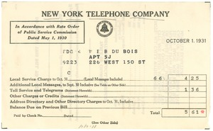 Thumbnail of Invoice from New York Telephone Company to W. E. B. Du Bois