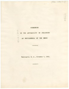 Thumbnail of Report on the Conference on the Advisability of Publishing an Encyclopedia of             the Negro
