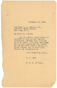 Thumbnail of Letter from W. L. Imes and W. E. B. Du Bois to A. C. Powell, Sr.