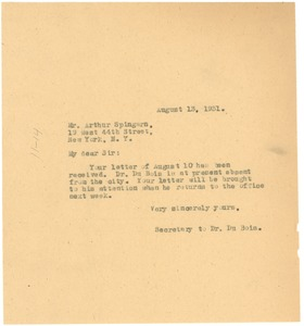 Thumbnail of Letter from unidentified correspondent to Arthur B. Spingarn