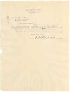 Thumbnail of Letter from R. H. Thomas to W. E. B. Du Bois