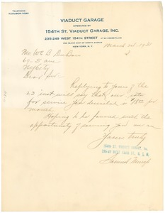 Thumbnail of Letter from Viaduct Garage to W. E. B. Du Bois