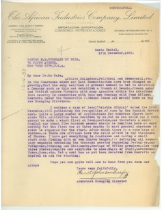 Thumbnail of Letter from African Industries Company to W. E. B. Du Bois