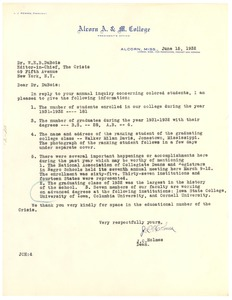 Thumbnail of Letter from Alcorn A & M College to W. E. B. Du Bois