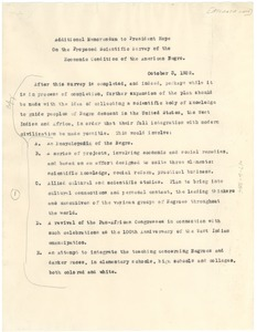 Thumbnail of Additional memorandum to President Hope on the proposed scientific survey of         the economic condition of the American negro
