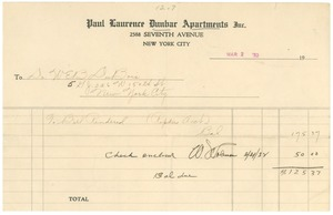 Thumbnail of Invoice for repairs to W. E. B. Du Bois's apartment