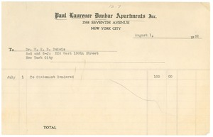 Thumbnail of Invoice for rent on W. E. B. Du Bois's apartment