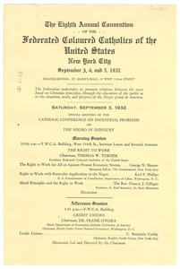 Thumbnail of Program of the eighth annual convention of the Federated Colored Catholics of             the United States