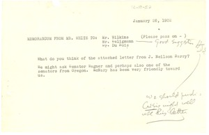 Thumbnail of Memorandum from Walter White to Roy Wilkins, H. G. Seligmann, and W. E. B. Du Bois