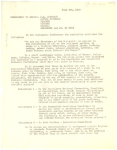 Thumbnail of Memorandum from Walter White to J. E. Spingarn, Arthur Spingarn, Roy Wilkins,             William Pickens, Robert Bagnall, Herbert Seligmann, and W. E. B. Du Bois