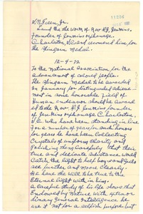Thumbnail of Letter from S. N. Green, Jr. to N.A.A.C.P. Spingarn Medal Award Committee