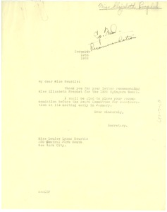 Thumbnail of Letter from Walter White to Louise Lyons Heustis to