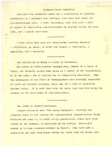 Thumbnail of Memorandum from W. E. B. Du Bois to NAACP Spingarn Medal Committee