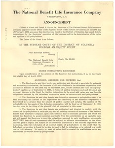 Thumbnail of National Benefit Life Insurance Company announcement and description of             policy