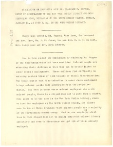 Thumbnail of Memorandum of interview between W. E. B. Du Bois and New York Public Library