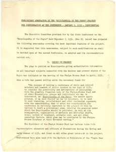 Thumbnail of Preliminary Memorandum on the 'Encyclopedia of the Negro' Project for             Consideration at the Conference - January 9, 1932