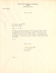 Thumbnail of Letter from Prairie View State Normal and Industrial College to W. E. B. Du Bois