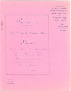 Thumbnail of Programme of the first annual fashion show and dance of the West African Dress             Factory Ltd.