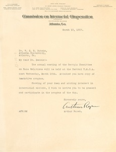 Thumbnail of Letter from The Commission on Interracial Cooperation to W. E. B. Du Bois