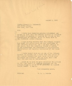 Thumbnail of Letter from W. E. B. Du Bois to The Federal Council of Churches of Christ in             America