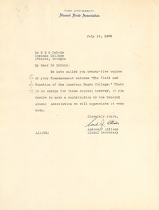 Thumbnail of Letter from The Fisk University Alumni Fund Association to W. E. B. Du Bois